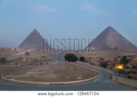 Road to the Great Giza Sphinx and pyramids at dawn.