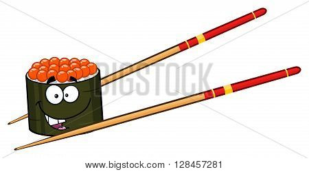 Cute Sushi Roll Cartoon Mascot Character With Chopsticks. Illustration Isolated On White
