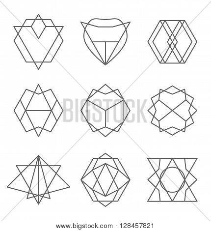 Set of hipster outline logo, badge, design elements. Vector illustration