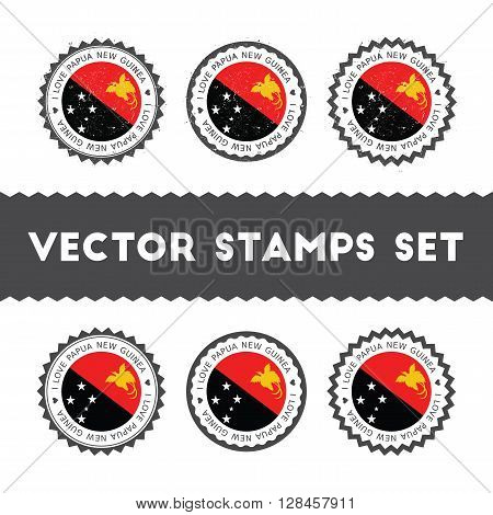 I Love Papua New Guinea Vector Stamps Set. Retro Patriotic Country Flag Badges. National Flags Vinta