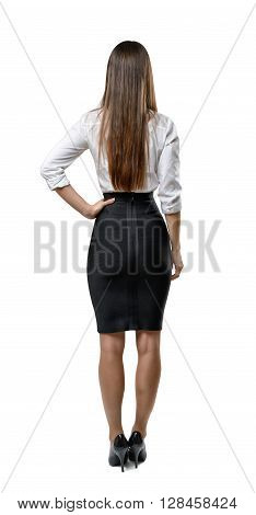 Back view of cutout businesswoman. Learning and teaching. Successful lifestyle. Business staff. Office clothes. Dress code. Study process.