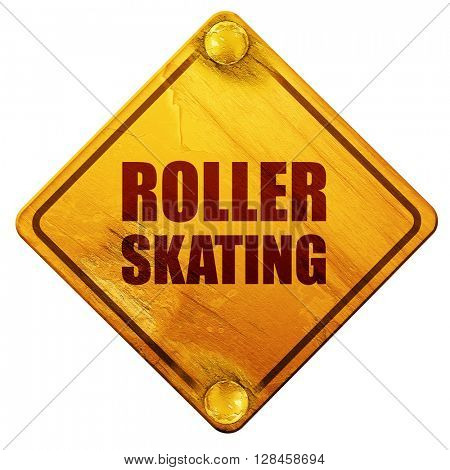 roller skating, 3D rendering, isolated grunge yellow road sign