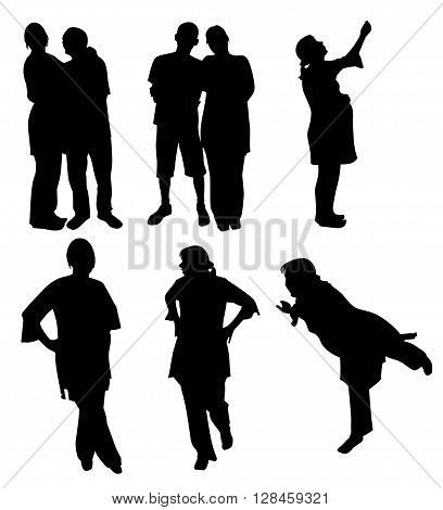 Set of silhouettes of couples and pregnant women in different poses. Vector illustration
