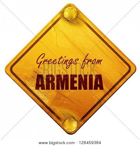 Greetings from armenia, 3D rendering, isolated grunge yellow roa