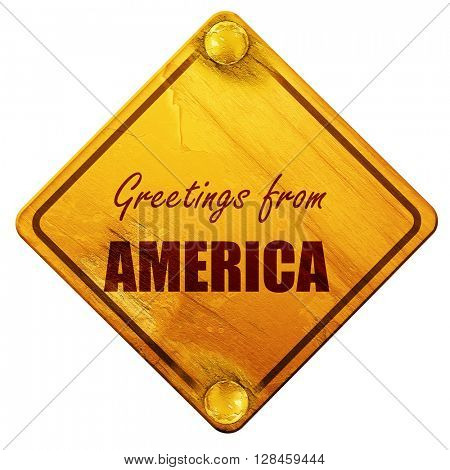 Greetings from america, 3D rendering, isolated grunge yellow roa
