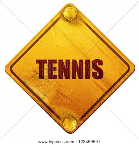 tennis sign background, 3D rendering, isolated grunge yellow roa