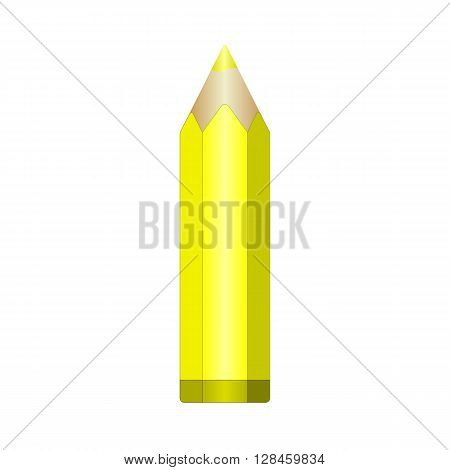Big yellow pencil with sharpened lead. Vector EPS10