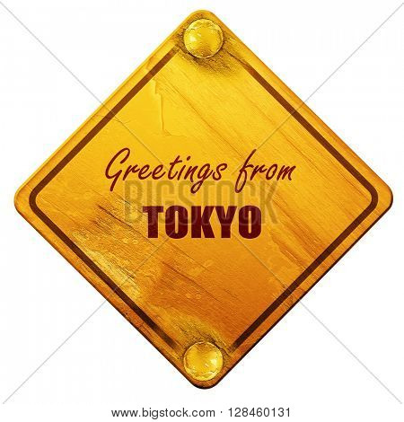Greetings from tokyo, 3D rendering, isolated grunge yellow road