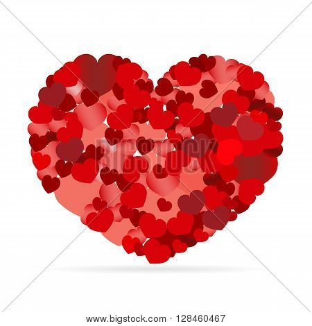 Valentines composition of the hearts. Vector illustration.