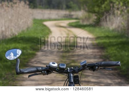 Tourism. Riding bicycle on the road leisure time