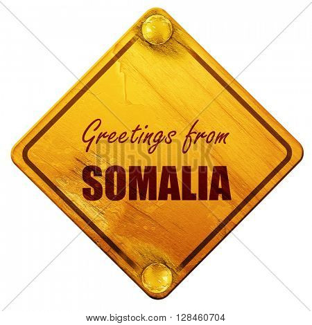 Greetings from somalia, 3D rendering, isolated grunge yellow roa
