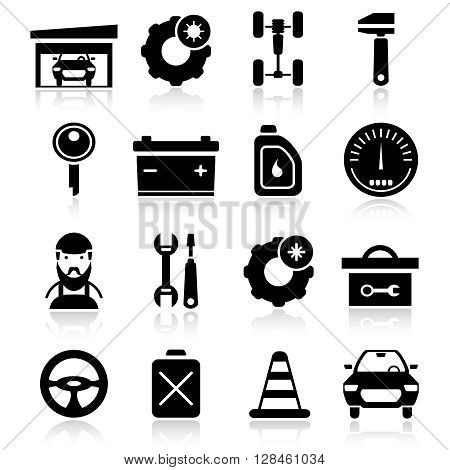 Auto service black white icons set with car battery garage toolbox speedometer oil fuel isolated vector illustration