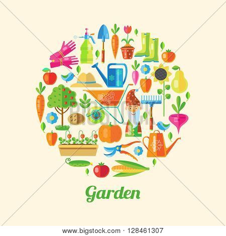 Garden colored poster its many little icons with attributes a gardener in a big circle vector illustration