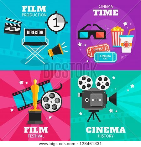 Four colored square icon set with attributes of film production cinema time film festival and cinema history