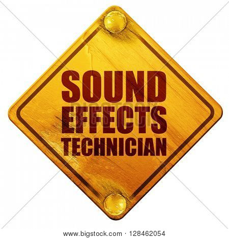 sound effects technician, 3D rendering, isolated grunge yellow r