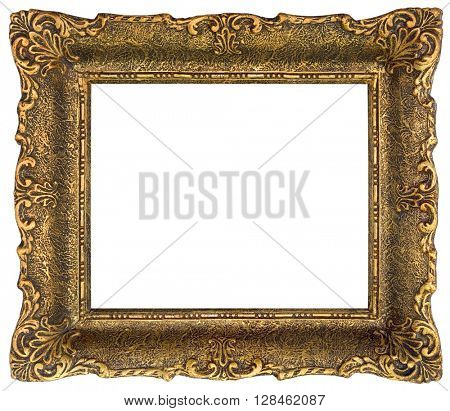 Golden Picture Frame Isolated with Clipping Path