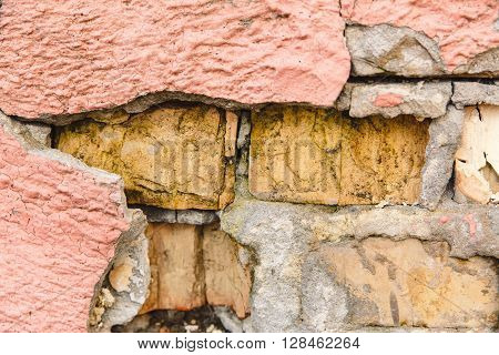 The Pattern from Bricks,Pink Plaster Chapped,Texture Toned