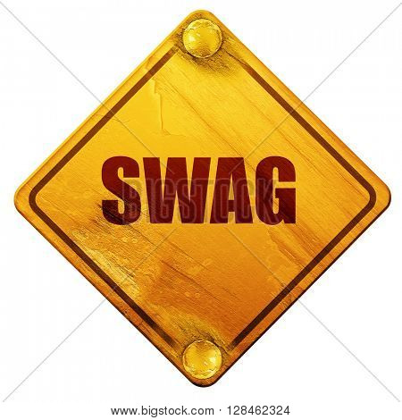swag internet slang, 3D rendering, isolated grunge yellow road s