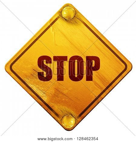 stop sign background, 3D rendering, isolated grunge yellow road