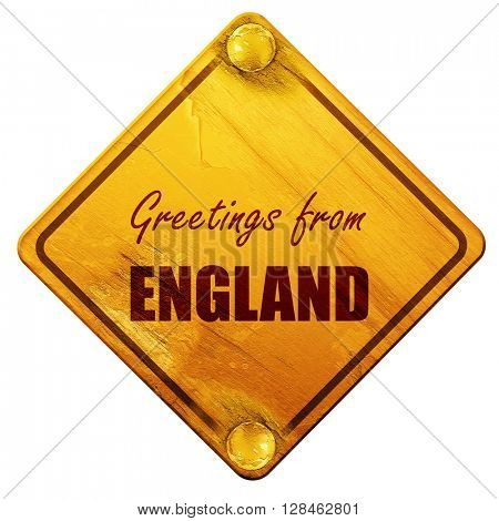 Greetings from england, 3D rendering, isolated grunge yellow roa