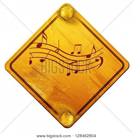 Music note background, 3D rendering, isolated grunge yellow road