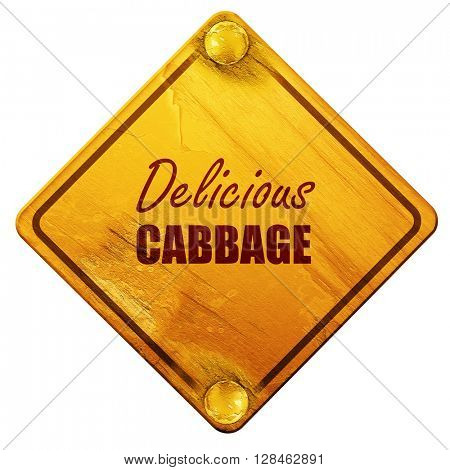 Delicious cabbage sign, 3D rendering, isolated grunge yellow roa