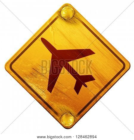 Low flying planes sign, 3D rendering, isolated grunge yellow roa