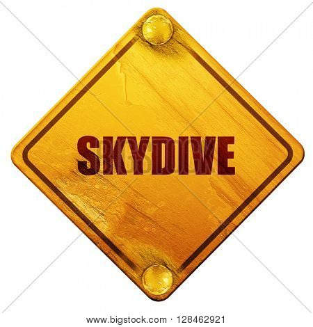 skydive sign background, 3D rendering, isolated grunge yellow ro