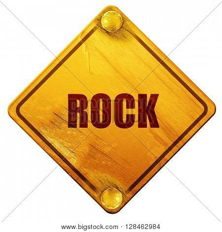 rock music, 3D rendering, isolated grunge yellow road sign
