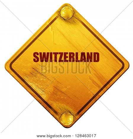switerzland, 3D rendering, isolated grunge yellow road sign