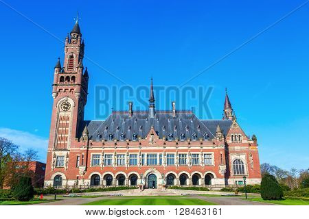 Peace Palace in The Hague Netherlands that houses the Permanent Court of Arbitration the International Court of Justice the Hague Academy of International Law and the Peace Palace Library