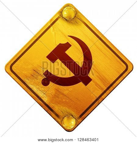 Communist sign with red and yellow colors, 3D rendering, isolate