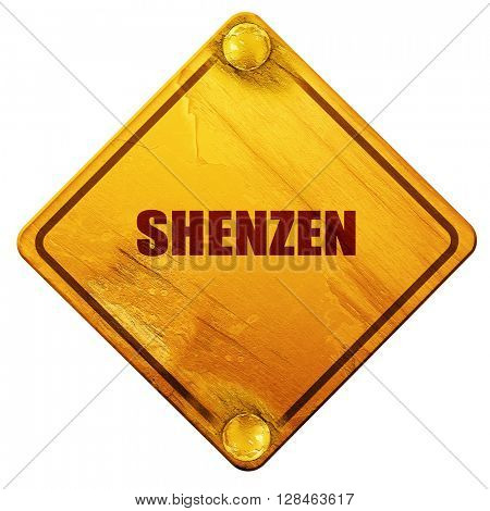 shenzen, 3D rendering, isolated grunge yellow road sign