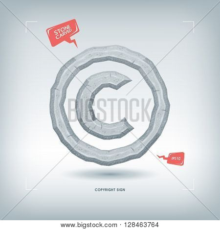 Copyright sign. Stone carved typeface element. Vector illustration.