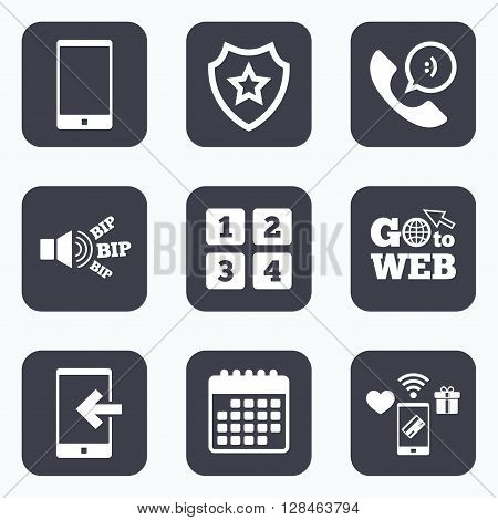Mobile payments, wifi and calendar icons. Phone icons. Smartphone incoming call sign. Call center support symbol. Cellphone keyboard symbol. Go to web symbol.