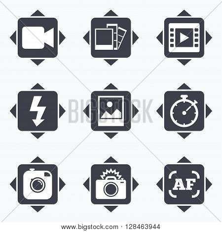 Icons with direction arrows. Photo, video icons. Camera, photos and frame signs. Flash, timer and landscape symbols. Square buttons.
