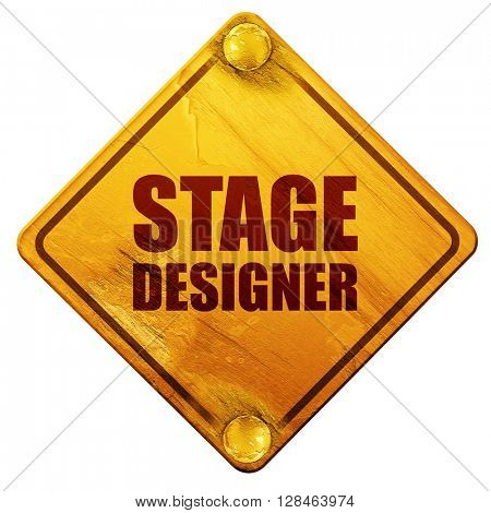 stage designer, 3D rendering, isolated grunge yellow road sign