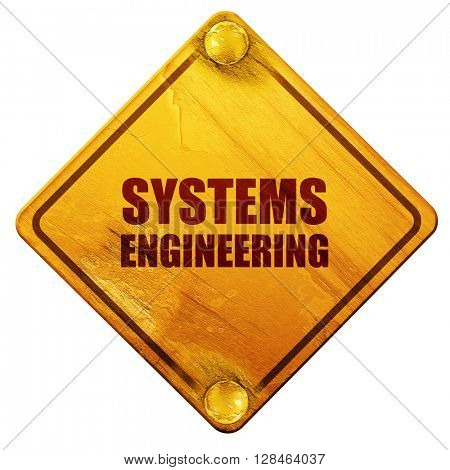 systems engineering, 3D rendering, isolated grunge yellow road s