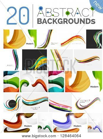 Pack of vector abstract backgrounds - smooth elegant unusual waves in different colors. Business or technology wallpaper, identity element
