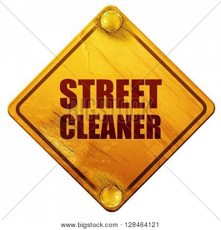 street cleaner, 3D rendering, isolated grunge yellow road sign