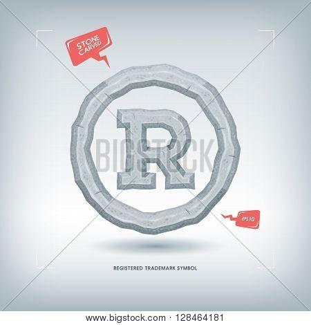 Registered trademark symbol. Stone carved typeface element. Vector illustration.