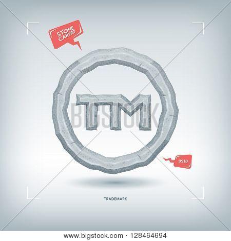 Trademark symbol. Stone carved typeface element. Vector illustration.