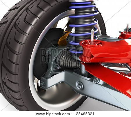 Car Suspension Separately From The Car Isolated On White 3D Illustration