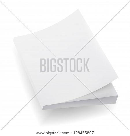 Blank Mock Up Cover Of Notebook Magazine Book Booklet Brochure. Illustration Isolated On White Background. Template Ready For Your Design.
