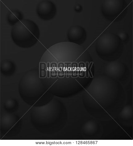 Abstract black 3d realistic sphere background. Vector illustration