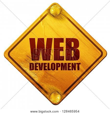 web development, 3D rendering, isolated grunge yellow road sign