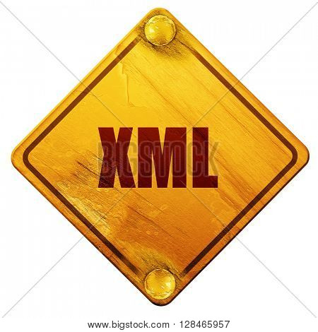 xml, 3D rendering, isolated grunge yellow road sign
