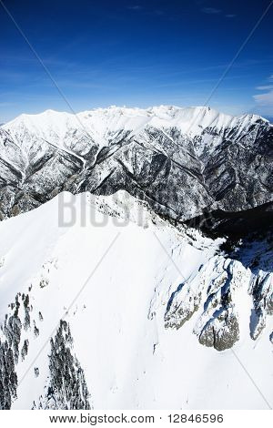 Aerial scenic of snowy Sangre De Cristo Mountains, Colorado, United States in winter.