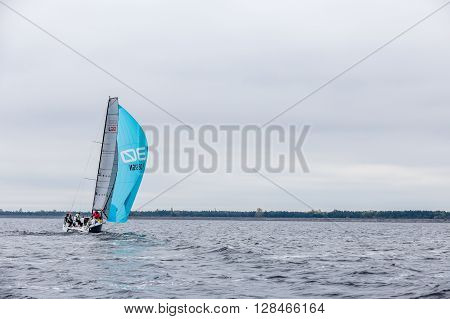 KYIV, UKRAINE - APRIL 26, 2016: Traning on the new model of yacht OceanTECH L30 on the Kyiv water reservoir or Kyiv SEA with Rodion Luka, L30 idea author, Silver Olympic medalist.