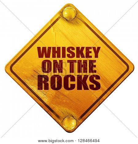 whiskey on the rocks, 3D rendering, isolated grunge yellow road